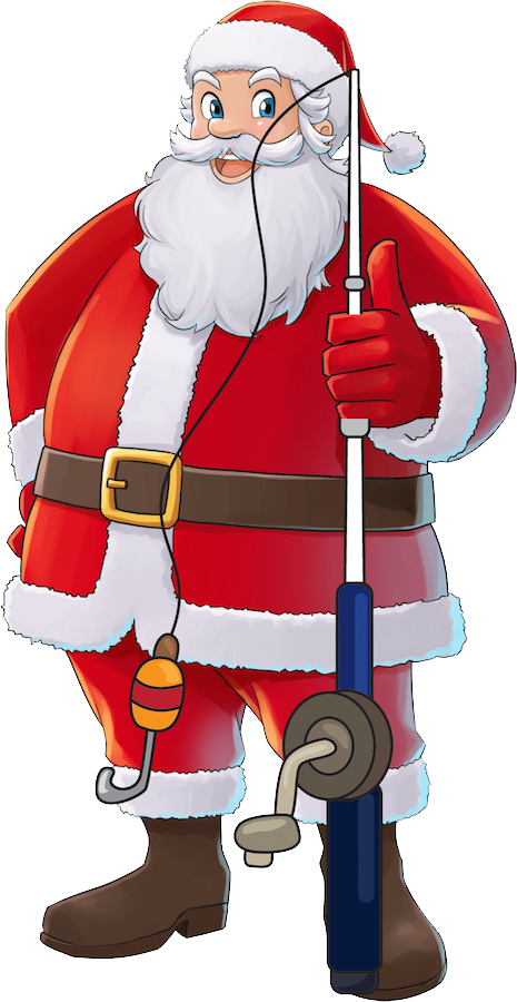 Fish with santa hat clipart clipart black and white Santa Fishing Clipart santa fishing clipart santa skates and boat ... clipart black and white
