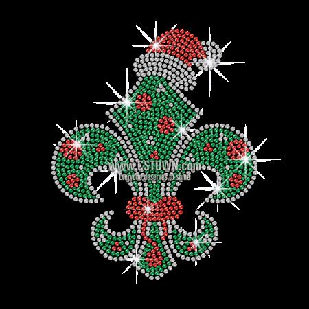 Christmas fleur de lis clipart jpg freeuse download Christmas Fleur De Lis Iron on Rhinestone Transfer Decal - CSTOWN jpg freeuse download