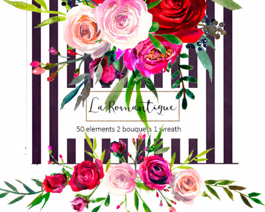 Christmas flower arrangement clipart black and white stock Watercolor Floral Clipart Red Purple Pink Burgundy Roses Peonies ... black and white stock