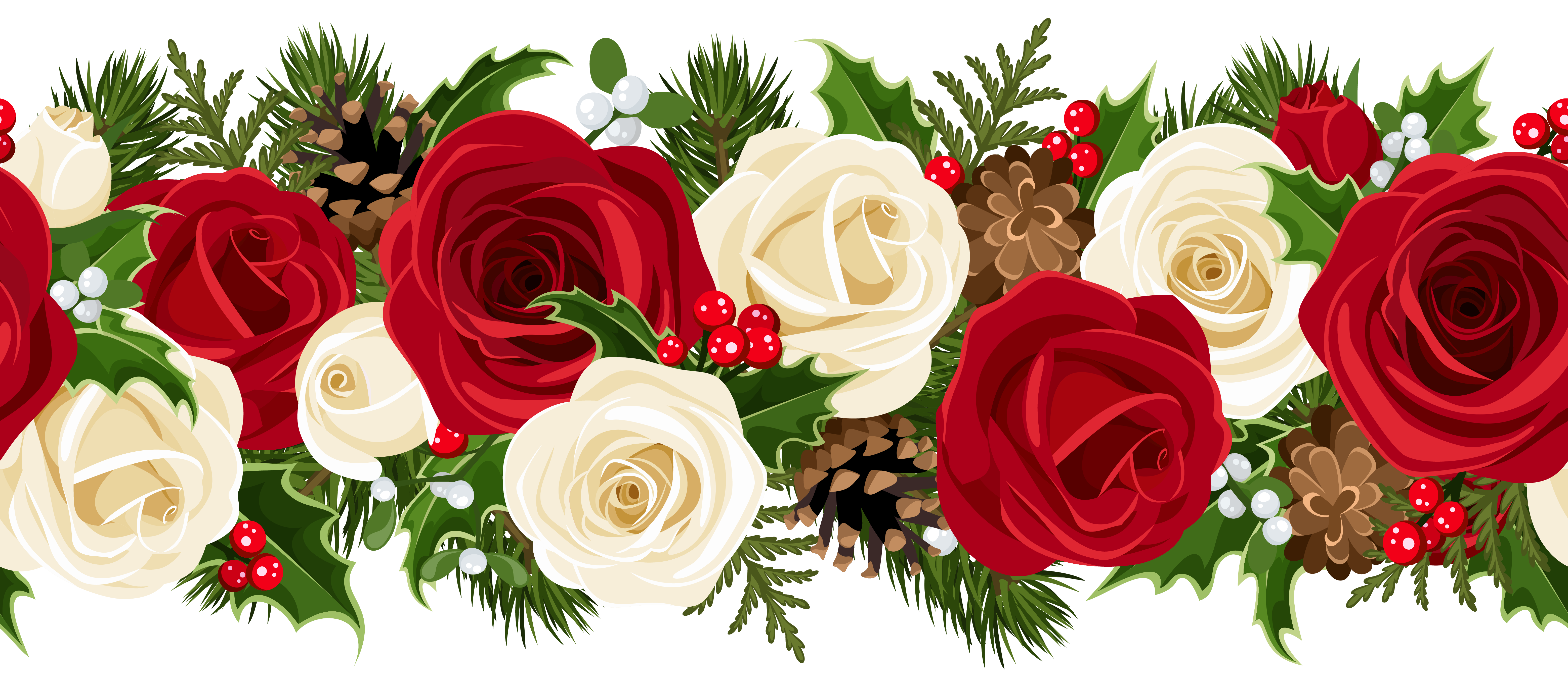 Christmas flower border clipart graphic royalty free Christmas Rose Garland PNG Clip Art Image | Gallery Yopriceville ... graphic royalty free
