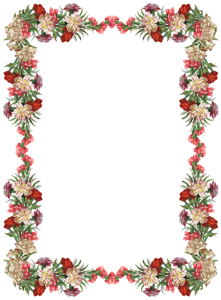 Flower border free clipart clip freeuse download Free digital vintage flower frame and border - Blumenrahmen png ... clip freeuse download