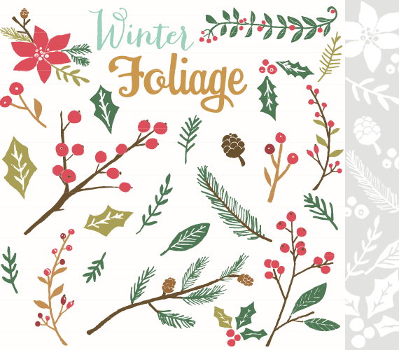 Christmas foliage clipart graphic library Winter Foliage | Winter/Christmas art | Christmas clipart free ... graphic library