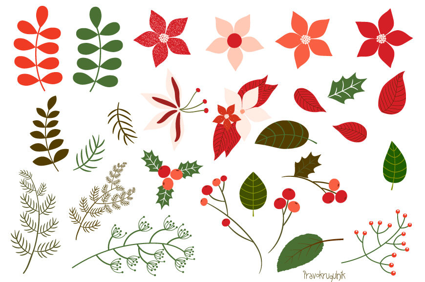 Christmas foliage clipart svg download Christmas foliage clipart set, Christmas flowers clip art, Floral ... svg download