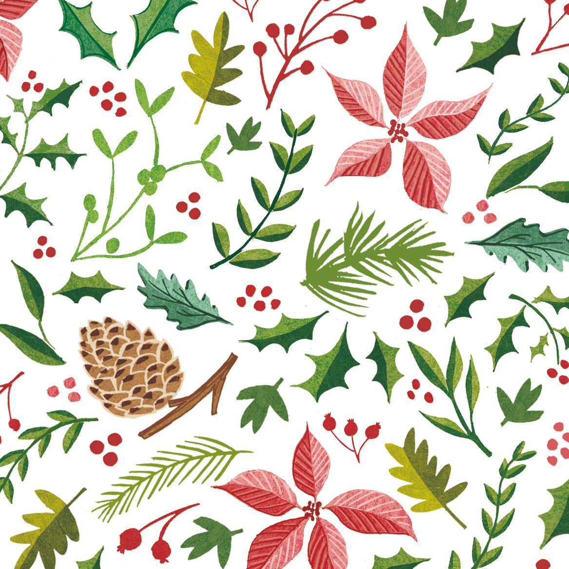 Christmas foliage clipart clip art royalty free library My Christmas foliage illustrations, with holly, berries, pine cones ... clip art royalty free library