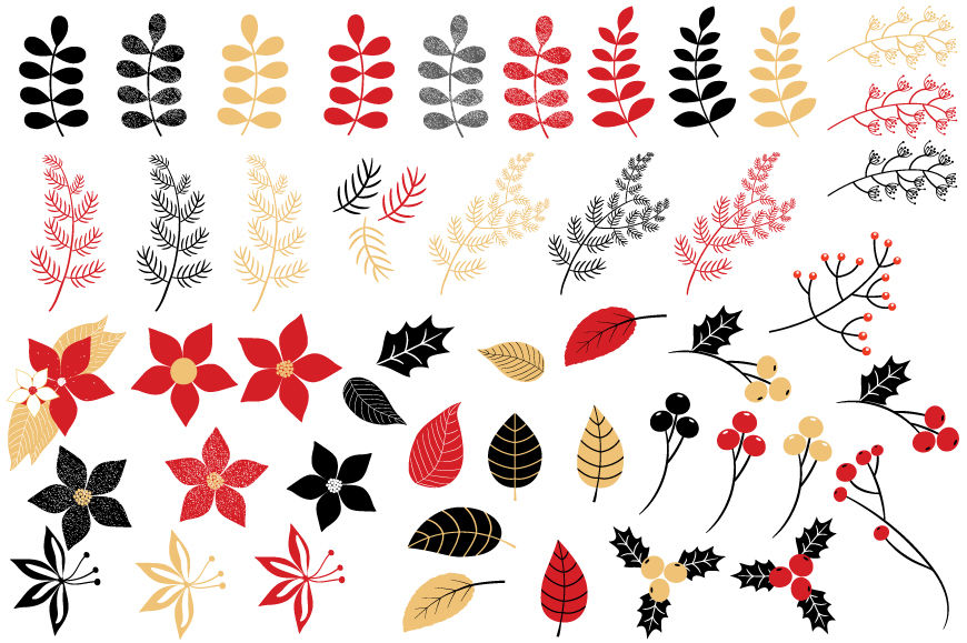 Christmas foliage clipart svg royalty free download Christmas foliage clipart, Winter flower holiday floral clip art By ... svg royalty free download