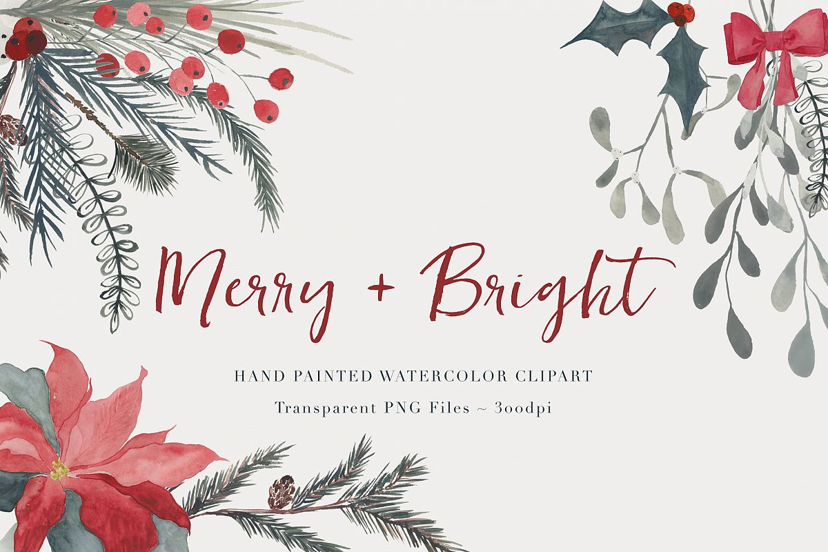 Christmas foliage clipart banner Christmas Watercolor Clipart banner