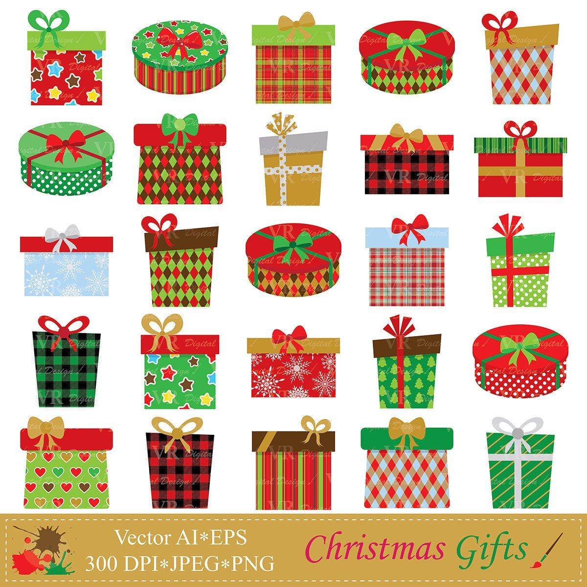 Christmas food boxes clipart picture royalty free library Christmas Gifts Clip Art, Christmas Presents Clipart, Christmas Gift ... picture royalty free library