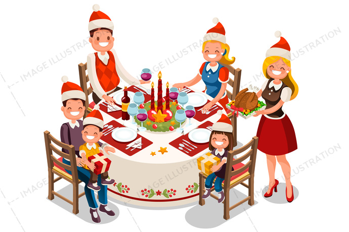 Clipart christmas dinner party clip freeuse download Family Holiday Dinner Party Illustration clip freeuse download