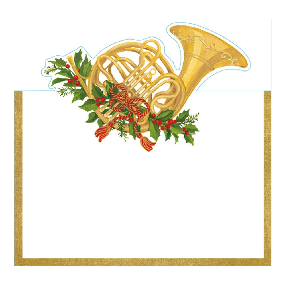 Christmas french horn clipart clipart library stock Christmas Concert French Horn Die-Cut Place Cards - 8 Per Package clipart library stock