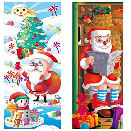 Christmas front door clipart clip art royalty free download UNOMOR Christmas Door Decorations, 2 Pack Santa Door Covers for  Xmas/Holiday/Party/Home Accessory Ornaments Indoor Outedoor Front Door  Bathroom ... clip art royalty free download