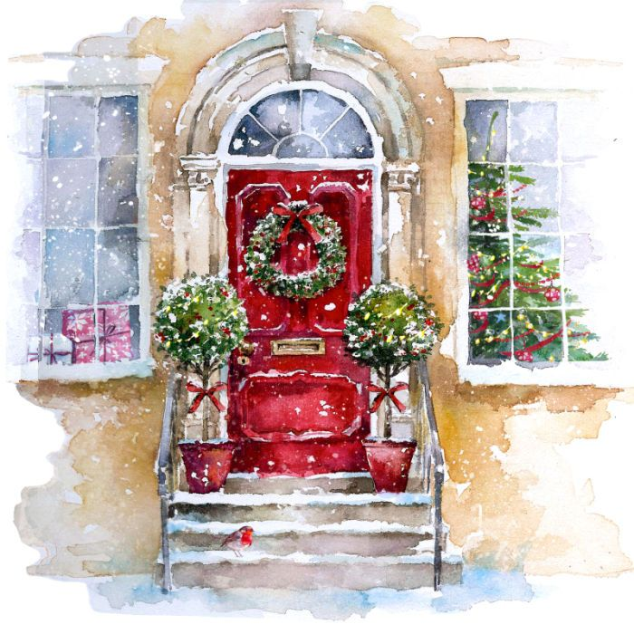 Christmas front door clipart graphic library library Harrison Ripley - XMAS FRONT DOOR SCENE 2 | Christmas Art Richard ... graphic library library