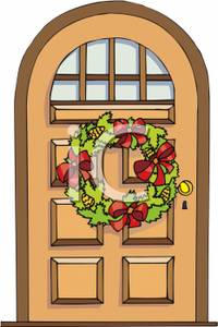 Christmas front door clipart png free stock Christmas Wreath on a Front Door - Royalty Free Clipart Picture png free stock