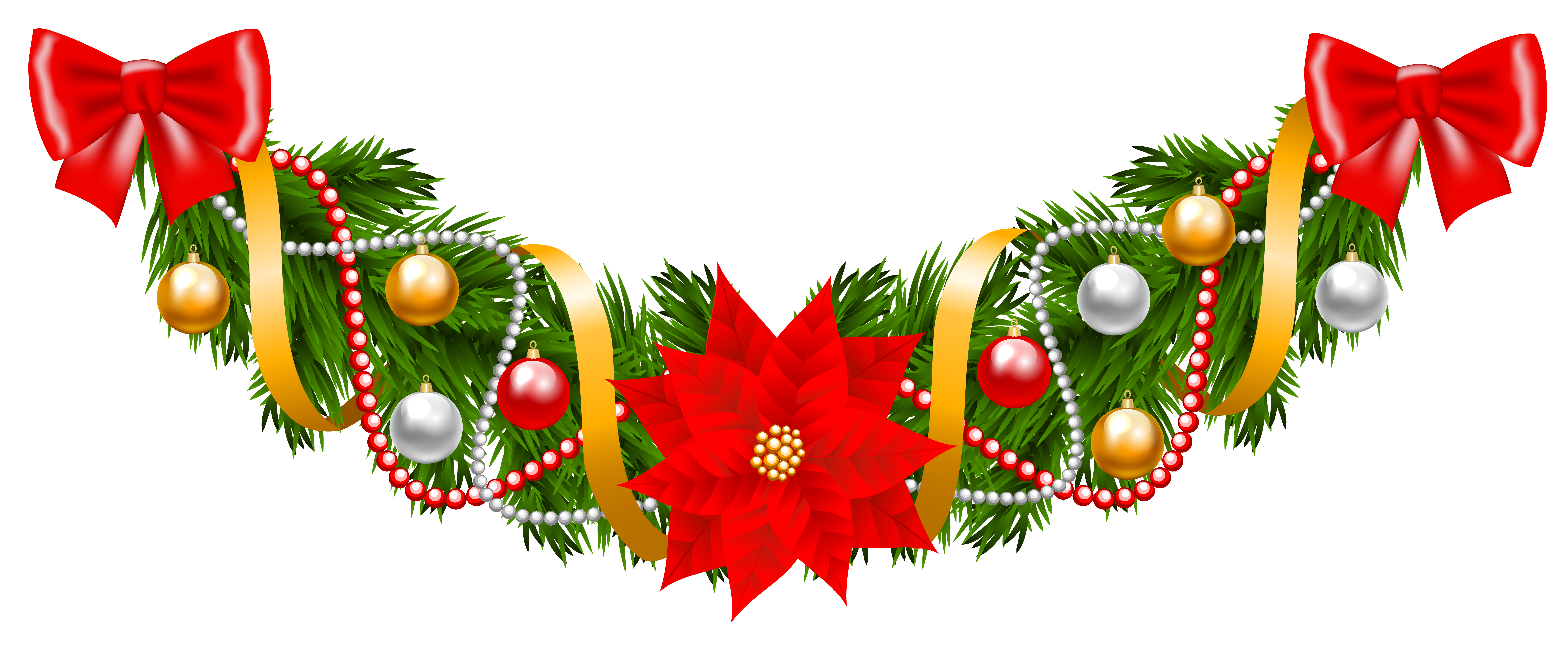 Poinsettia tree clipart clip library stock Christmas Pine Deco Garland with Poinsettia PNG Clipart Image ... clip library stock