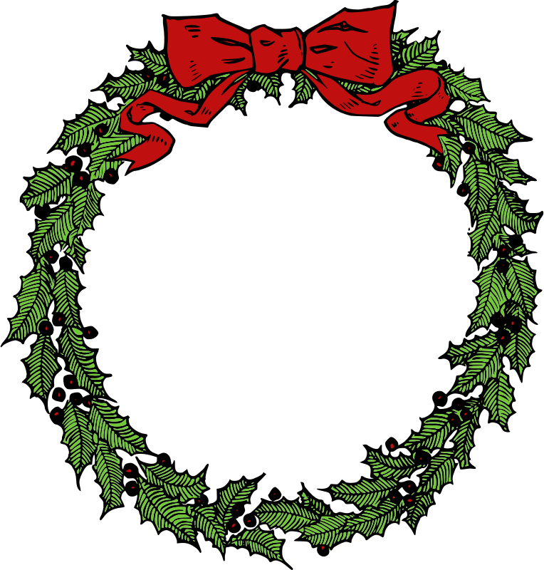 Free clipart christmas garland jpg royalty free library Clipart Christmas Wreath - Alternative Clipart Design • jpg royalty free library