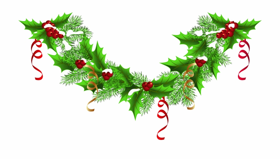 Christmas garland wreath clipart clip art black and white library Christmas Garland Border Transparent & Png Clipart - Christmas ... clip art black and white library