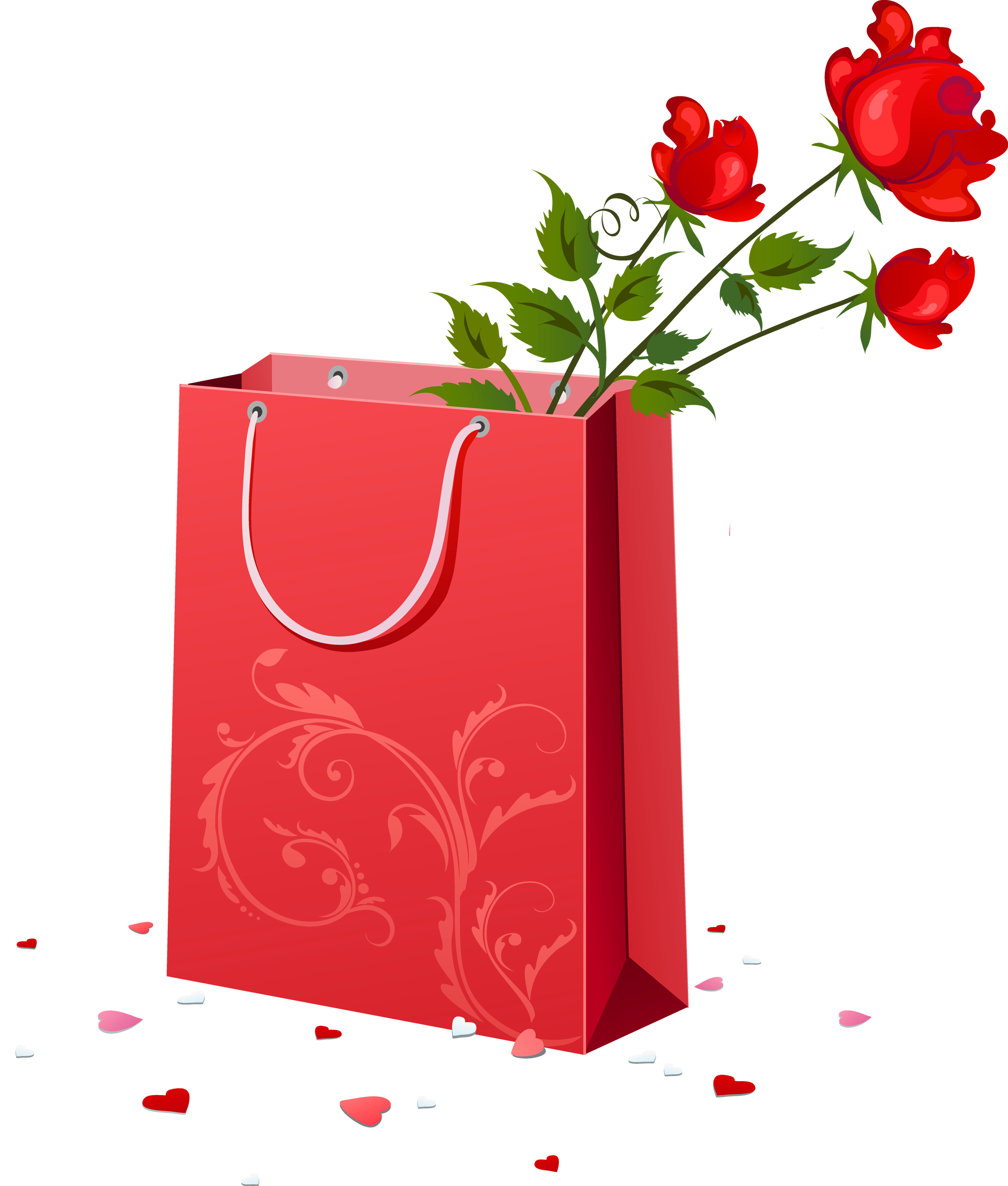 Christmas shopping bag clipart svg free library Red Gift Bag with Roses PNG Clipart | Gallery Yopriceville - High ... svg free library