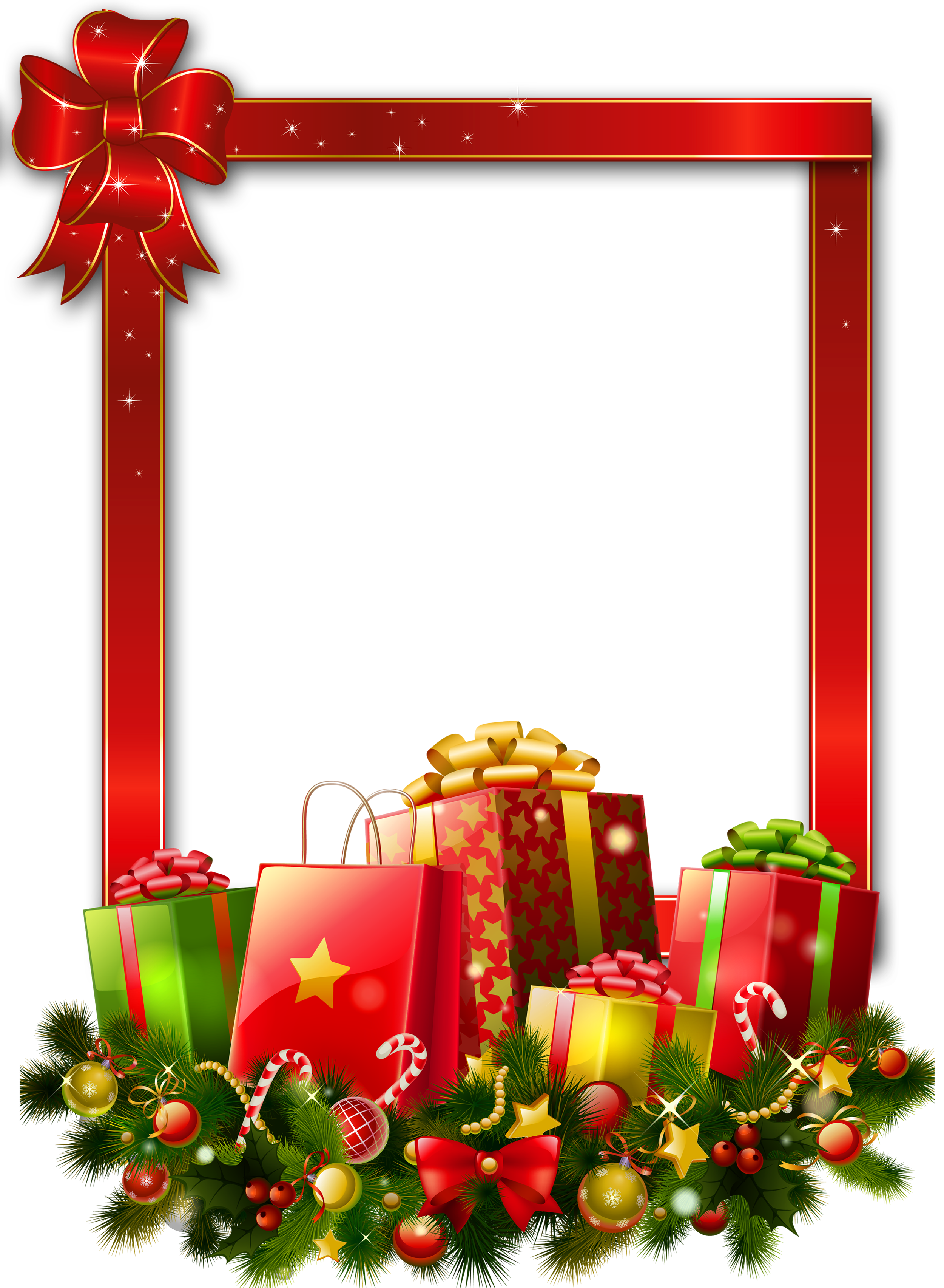 Free clipart christmas presents jpg free Red Large Christmas Transparent PNG Photo Frame with Presents ... jpg free