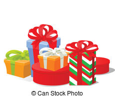 Gifts illustrations and clip. Christmas gift clipart graphics
