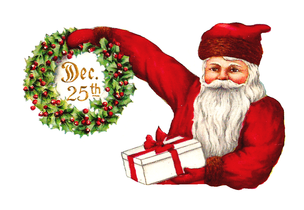 Christmas tag clipart image download Antique Images: Printable Vintage Santa, Poinsettia, and Christmas ... image download
