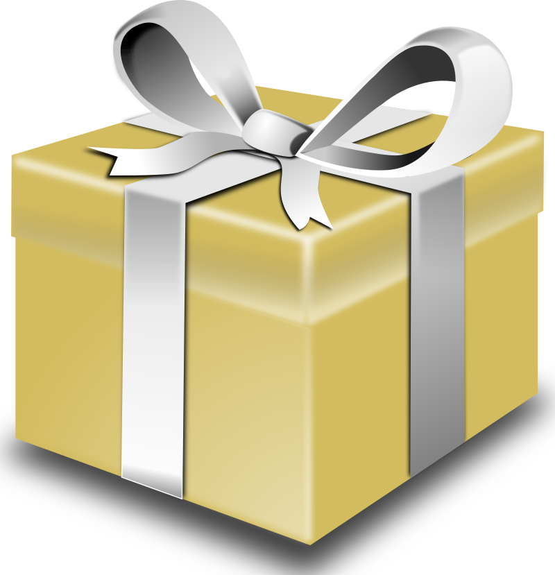 Christmas gift wrapping clipart image royalty free stock Clipart - Gold present image royalty free stock