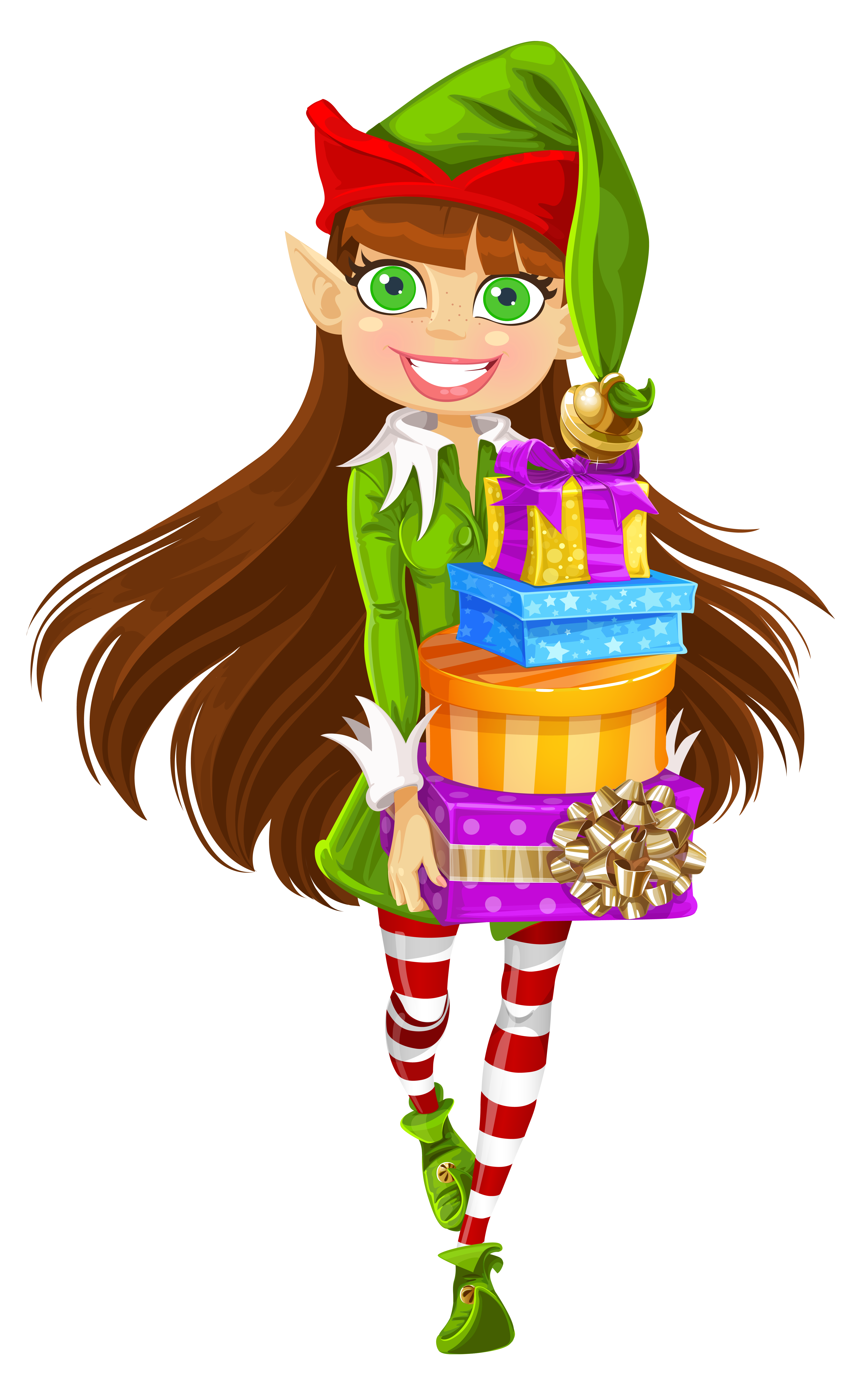 Christmas girl elf clipart clipart freeuse stock Christmas Girl Elf with Gifts PNG Picture | Gallery Yopriceville ... clipart freeuse stock