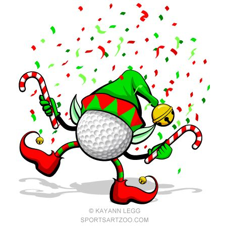 Christmas golf ball clipart png black and white stock Dancing Golf Ball Elf Golf Ball Christmas Wreath #sportsartzoo #golf ... png black and white stock