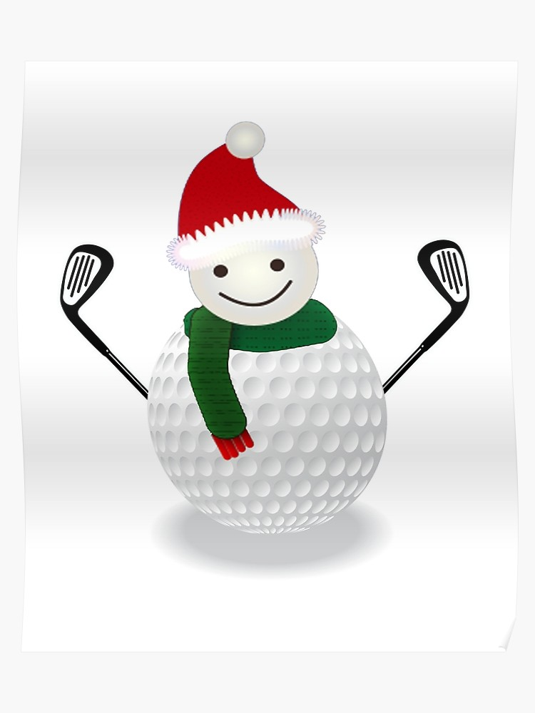 Christmas golf ball clipart picture royalty free download Golf Ball Snowman Funny Christmas T-shirt Golf lover | Poster picture royalty free download
