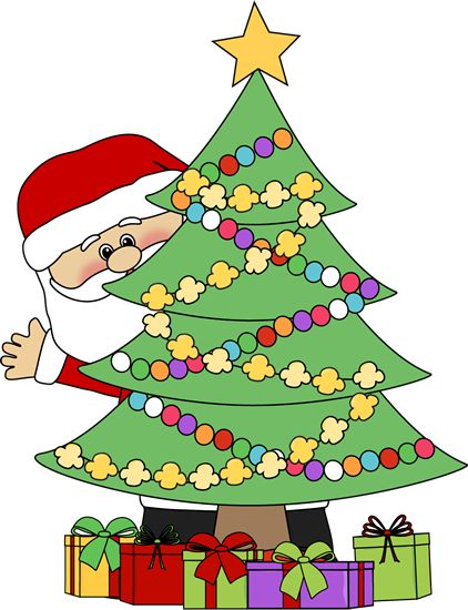 Christmas graphics and clipart picture freeuse download christmas clip art | Santa Behind a Christmas Tree Clip Art ... picture freeuse download