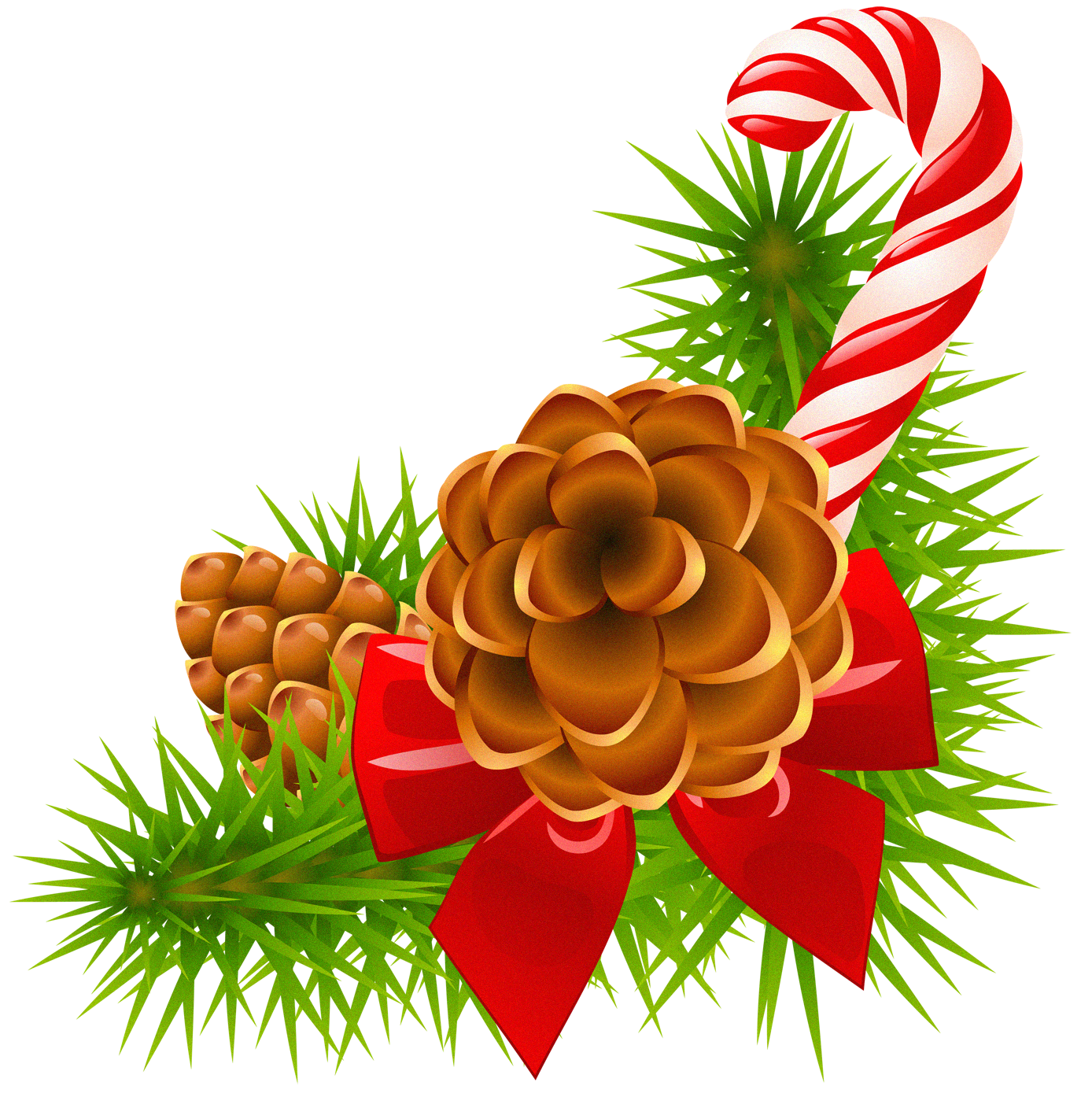 Christmas pinecone clipart image royalty free stock Christmas Pine Branch with Cones and Candy Cane Decor | Gallery ... image royalty free stock
