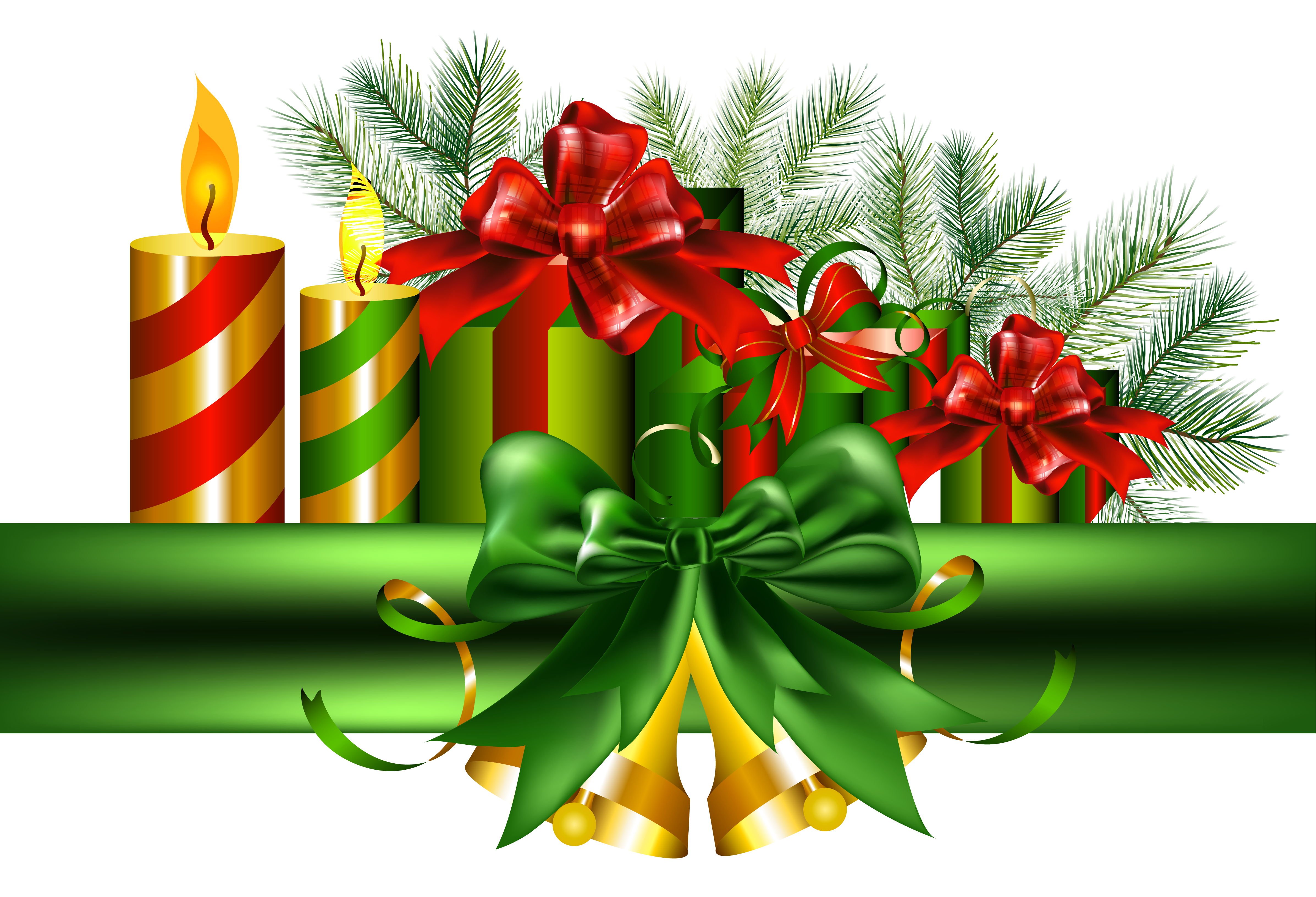 Christmas greens clipart graphic library stock Christmas Green Decoration with Golden Bells PNG Clipart | Gallery ... graphic library stock