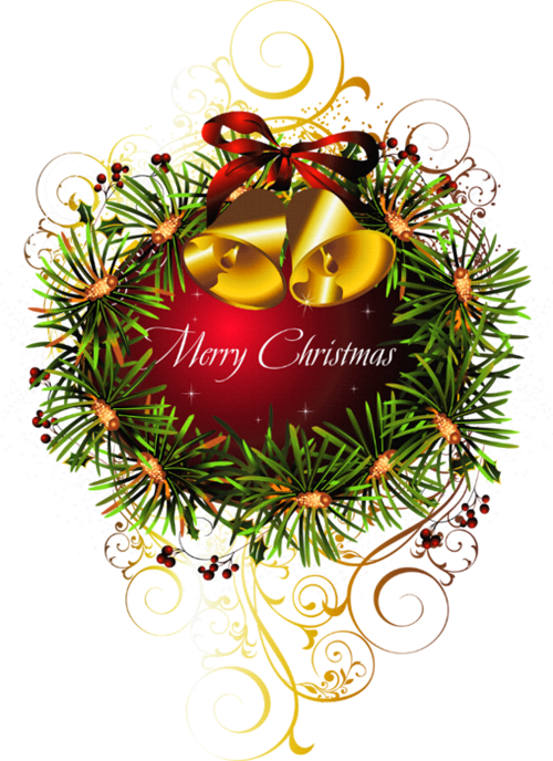 Christmas greeting clipart png free stock Red Merry Christmas Transparent Christmas Ball with Bells Clipart ... png free stock