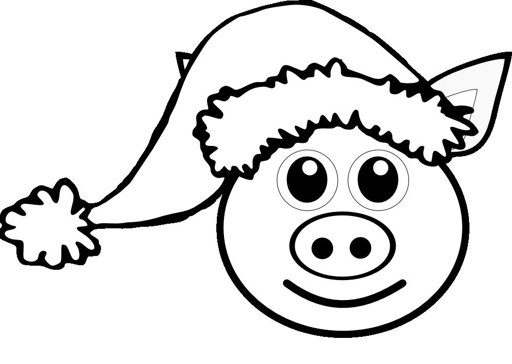 Christmas hat clipart outline transparent download Pig 1 face Pink with Santa Hat Black White Line Art Christmas Xmas ... transparent download