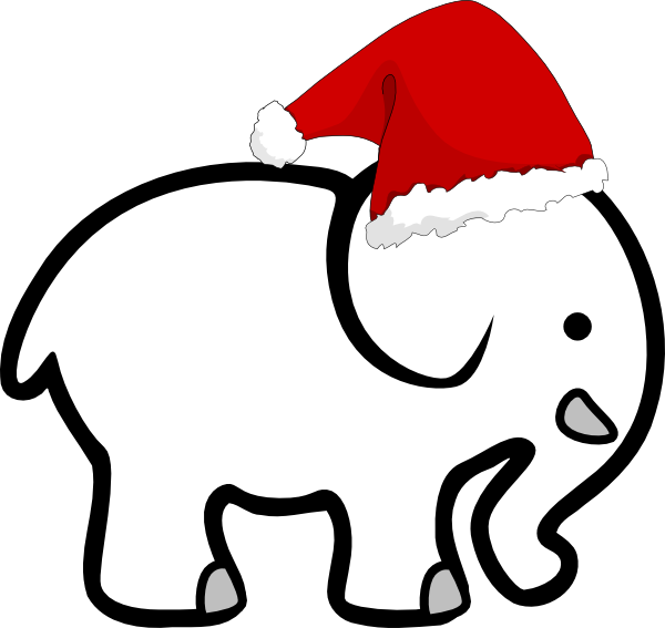 Christmas holiday party clipart jpg black and white download White Elephant With Santa Hat Clip Art at Clker.com - vector clip ... jpg black and white download