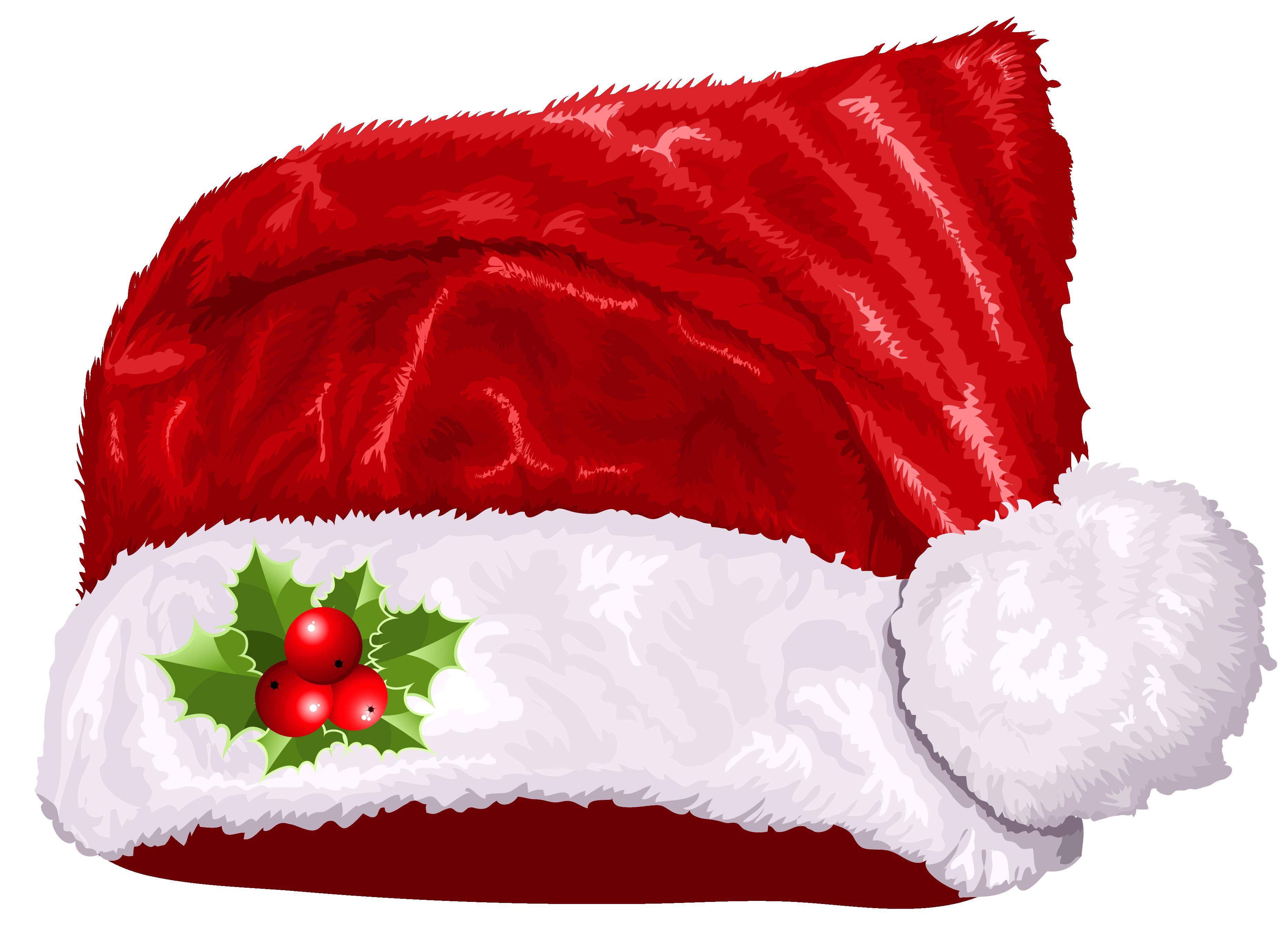 Christmas hats clipart jpg stock Large Transparent Christmas Santa Hat PNG Clipart | Gallery ... jpg stock
