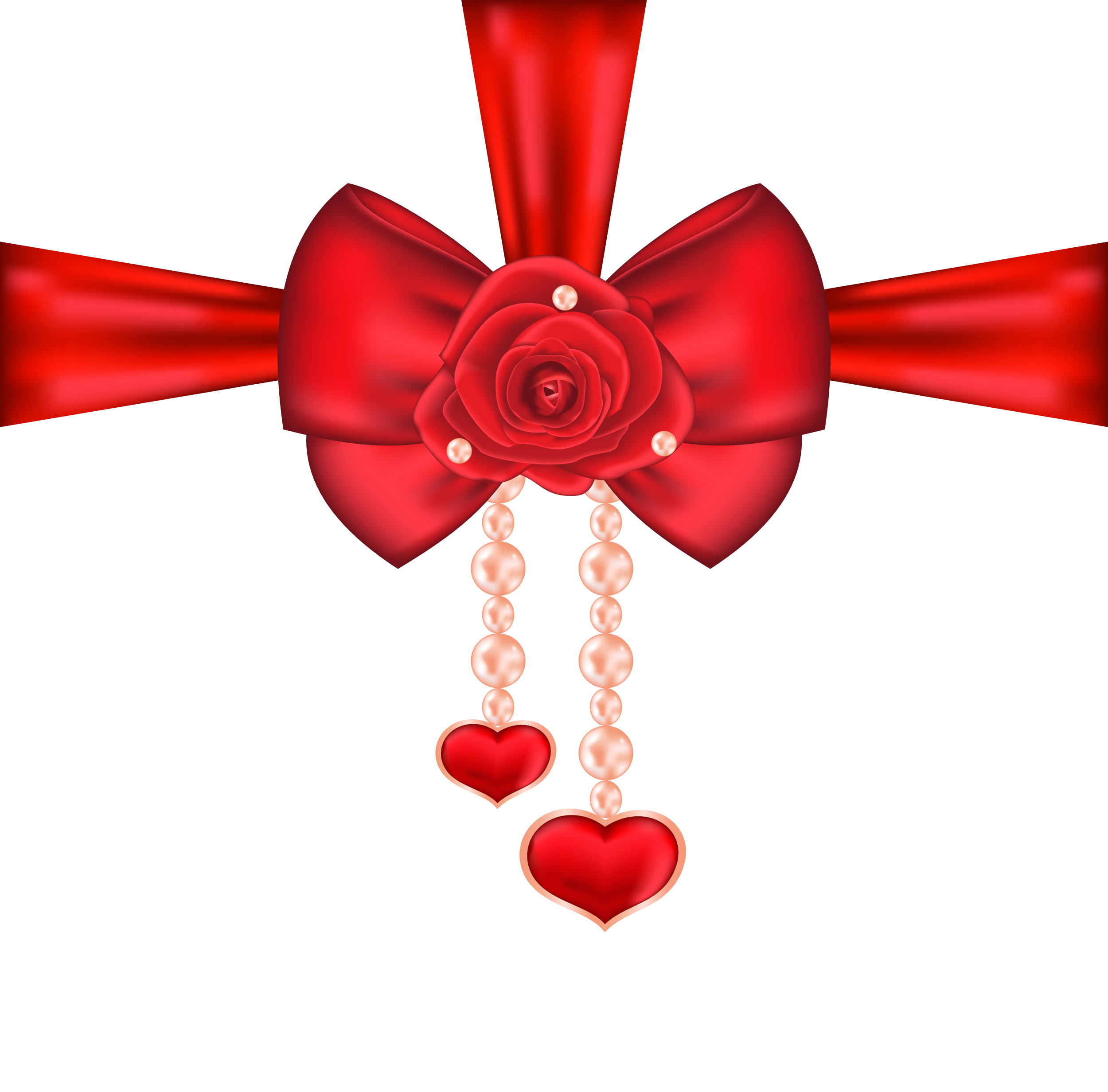 Heart ribbon clipart picture free library Red Decorative Bow with Rose and Hearts PNG Clipart Picture ... picture free library