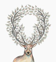 Christmas hipster clipart image free library Trendy Hipster Reindeer With Circle Leaves Merry Christmas Compo ... image free library