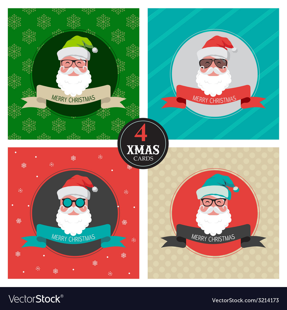 Christmas hipster clipart vector stock Four xmas cards with hipster santa vector stock