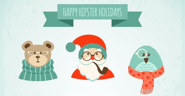 Christmas hipster clipart clip art library download 30+ Free Christmas Vector Graphics & Party Flyer Templates - Super ... clip art library download