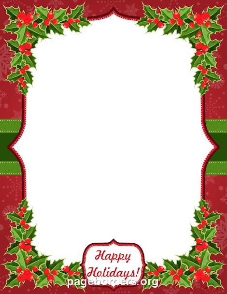 Christmas holidays border clipart graphic transparent Happy Holidays Border | recipes | Happy holidays, Page borders ... graphic transparent