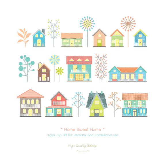 Christmas housewarming clipart clip freeuse stock Home Sweet Home Digital Clip Art - Houses Clip Art - Housewarming ... clip freeuse stock