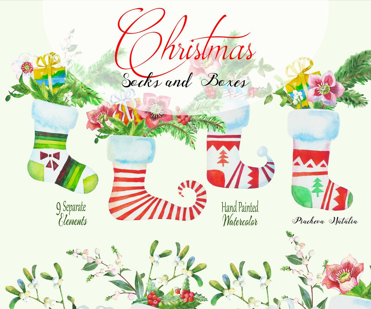 Christmas housewarming clipart image Christmas clipart, watercolor Socks and Boxes, holly, hellebore ... image