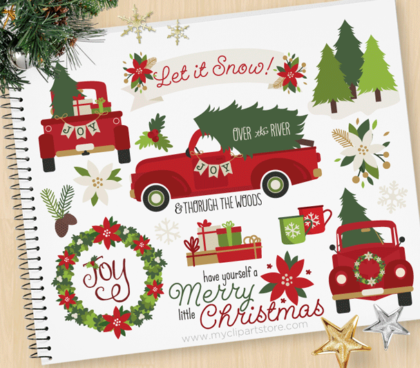 Christmas housewarming clipart freeuse library Christmas Truck Red Clipart freeuse library