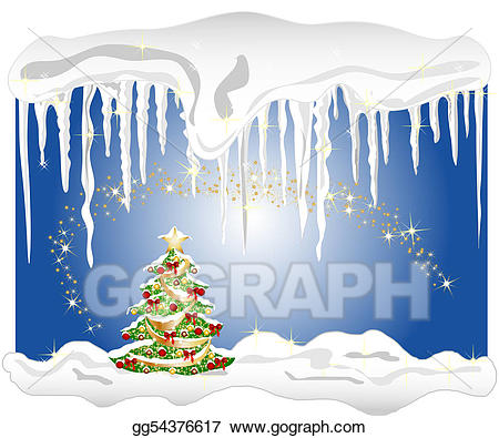 Christmas icecycle clipart picture vector library download Drawing - Illustration of a cold winter background with christmas ... vector library download