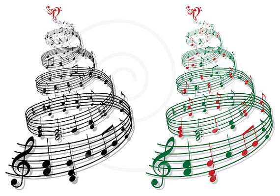 Christmas instruments clipart picture stock Christmas tree with music notes, printable Christmas card, Xmas ... picture stock