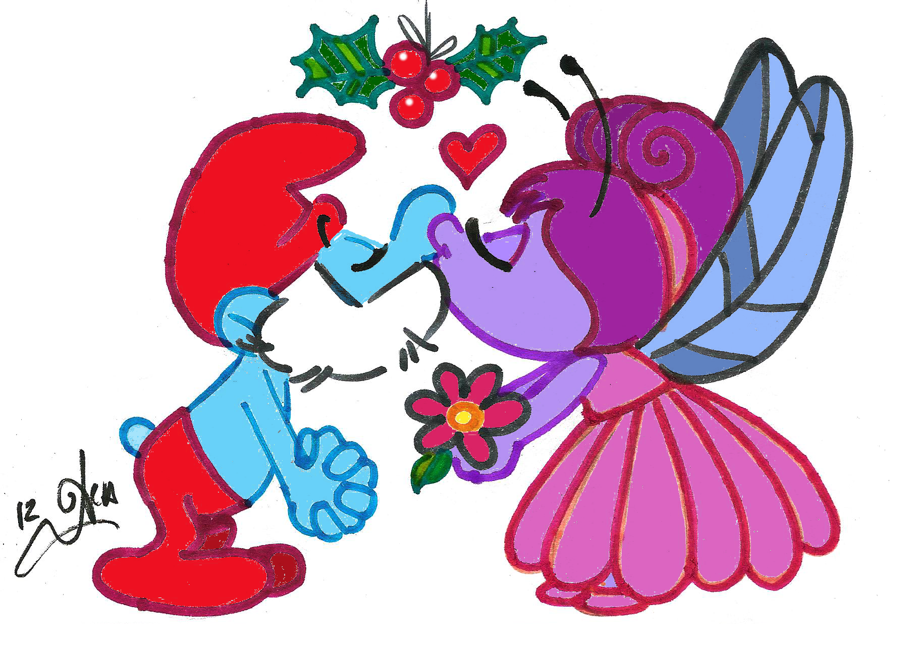 Christmas kiss clipart image black and white library Smurfy Christmas Art Gallery image black and white library