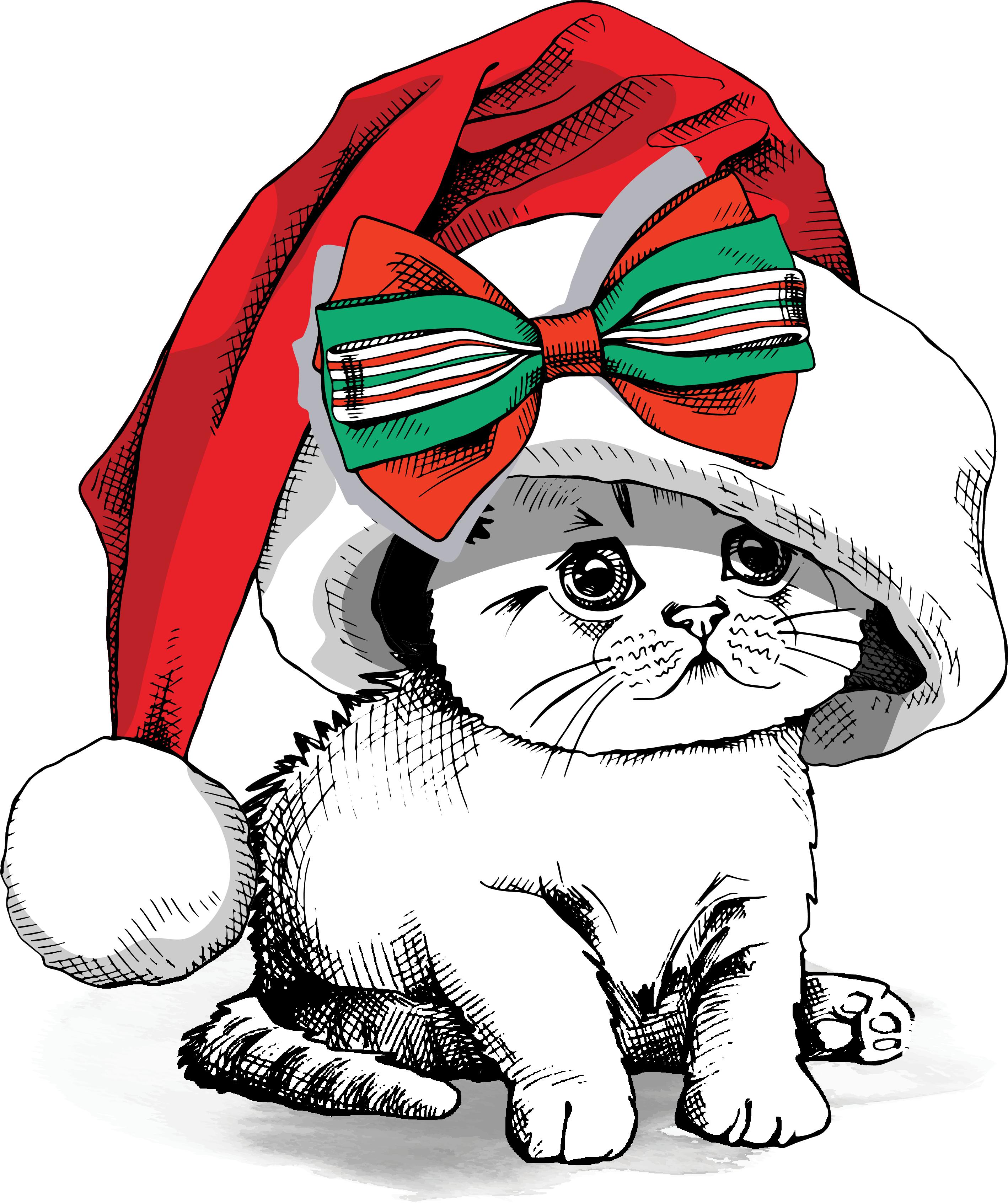 Christmas kitten clipart clip art stock Christmas Printed Transfers 2017 (4) – Sew Down South clip art stock