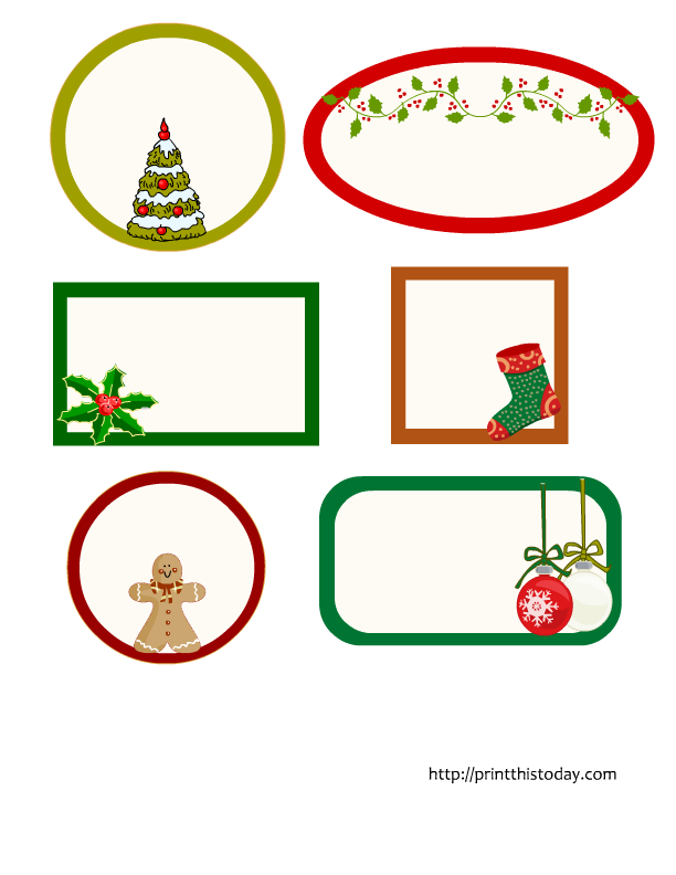 Christmas tags clipart jpg black and white Editable Christmas Labels in 6 different shapes {free printable} jpg black and white