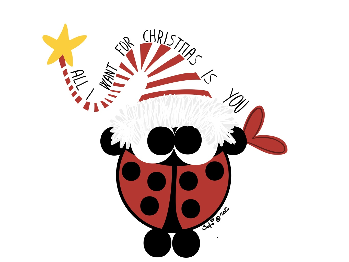 Christmas ladybug clipart png black and white Christmas Cartoon Ladybugs Related Keywords & Suggestions ... png black and white