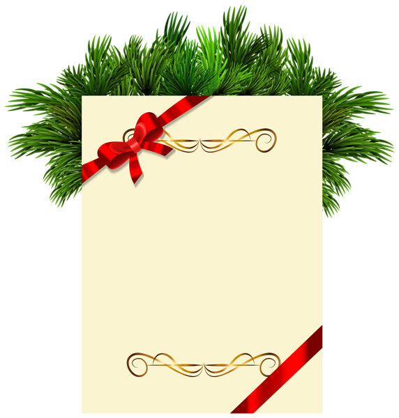 Christmas letterhead clipart clip art freeuse stock Christmas Blank with Pine Branches PNG Clipart Picture   Странички ... clip art freeuse stock