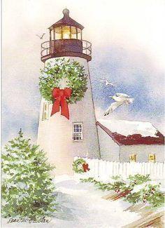 Christmas light house clipart clipart Snowy Christmas lighthouse | Painting | Watercolor christmas cards ... clipart